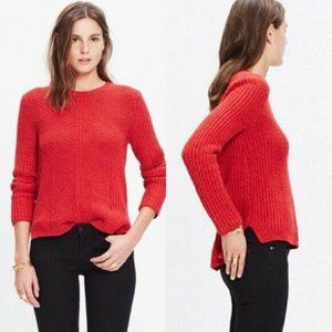 Madewell Holcomb Texture Red Knit Casual Sweater M